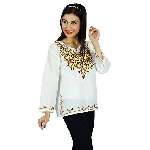 Las mujeres del verano nuevas Boho superior ocasional de la túnica Vestido de tirantes Blanco y Amarillo
