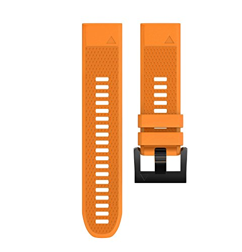 Wearable4U Garmin Fenix 5 Band 22mm Quick Release Easy Fit Silicone Replacement Watch Strap for Garmin Fenix 5 Sapphire, Quatix 5, Quatix 5 Sapphire, Forerunner 935, Approach S60 (Orange)