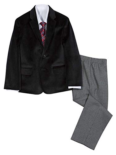 Nautica Boys' 4-Piece Suit Set with Dress Shirt, Tie, Jacket, and Pants, original houndstooth black, 4 ()