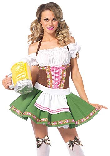Beer Maiden Costume (Leg Avenue Women's Beer Babe Oktoberfest Costume, Brown/Green,)
