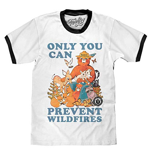 Tee Luv Smokey Bear T-Shirt - Only You Can Prevent Wild Fires Ringer Shirt (LG) White