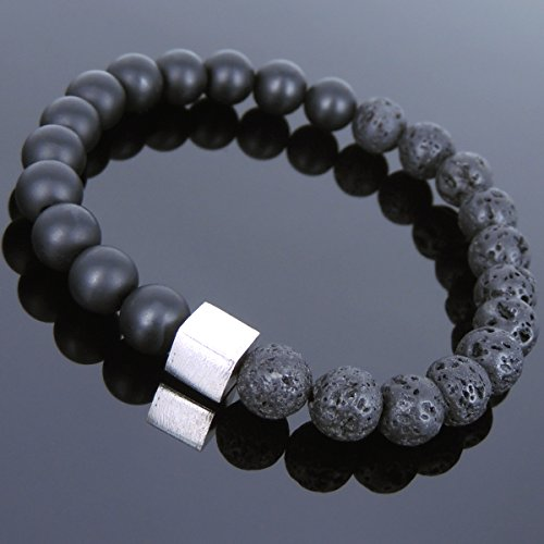 Men and Women Bracelet Handmade with 8mm Natural Lava Rock, Matte Black Onyx and Genuine 925 Sterling Silver Cube (Black Onyx Cube Beads)