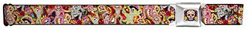 Buckle-Down Seatbelt Belt - Dancing Catrinas Collage Multi Color - 1.5