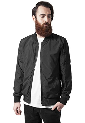 Urban Classics Mens Bomber Jacket TB1258 Light Bomber Jacket Color: black in Size: Medium by Urban Classics