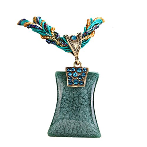 Clearance! Bohemian Necklace,Leewos Women Fashion Rhinestone Geometric Type Gem Pendant Statement Chains (Blue)