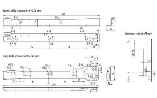 Roller Drawer Slides Runners Bottom Fix Metal White Size 500mm