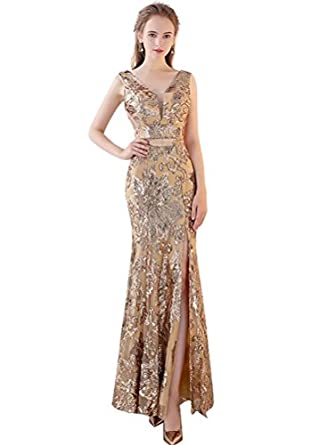 Long Bridesmaid Dresses Gold Sequins Mermaid Sleeveless Prom Dresses 2018 For Wedding,Party Lanier