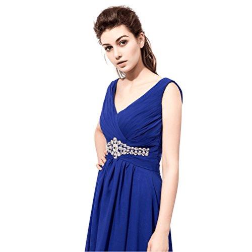 Blau Schnüren Schulter V Chiffon Langes Rosa Rueckenfrei Kleid Gürtel Abendkleider Aiyana Perlen für Damen ärmellos Elegantes EgCqntWBIv