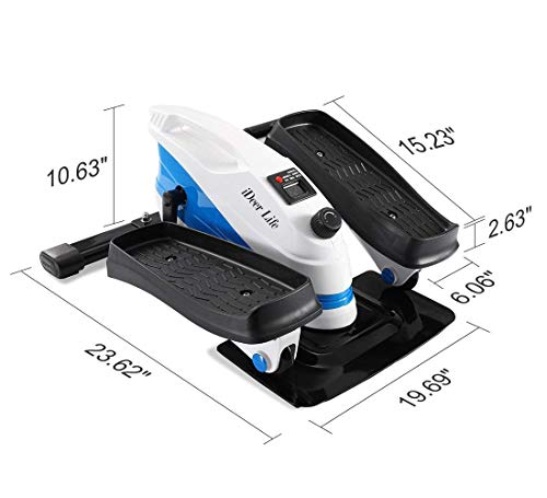 IDEER LIFE Under Desk&Stand Up Exercise Bike,Mini Elliptical Trainers Stepper Pedal w/Adjustable Resistance and LCD Display,Fitness Exercise Peddler for Home&Office Workout (White Blue 09023) by IDEER LIFE (Image #8)