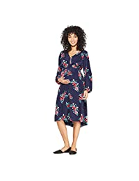 Ingrid & Isabel Women's Maternity Floral Print Ruched Woven Dress - Navy -