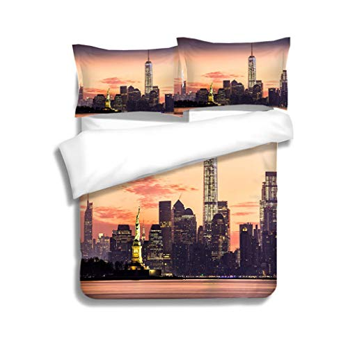 (MTSJTliangwan Family Bed Lower Manhattan and The Statue of Liberty at Sunrise 3 Piece Bedding Set with Pillow Shams, Queen/Full, Dark Orange White Teal Coral)