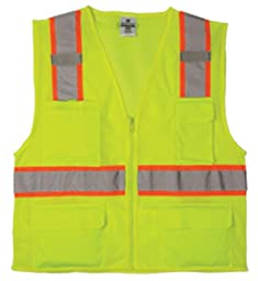 ML Kishigo 1195 Ultra-Cool Polyester Mesh Multi-Pocket Vest, 2X-Large, Lime