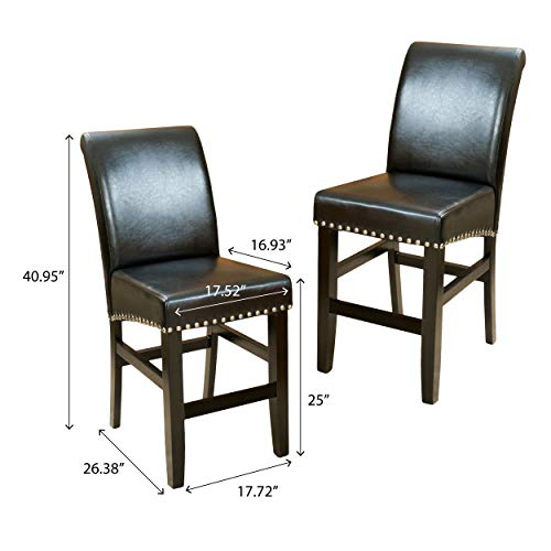 Christopher Knight Home 238540 Lisette Leather Counter Stool (Set of 2) Black by Christopher Knight Home (Image #5)