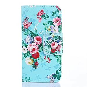 qyf Flower Pattern PU Leather Purse Stand Function Holster Case for Samsung Galaxy S6