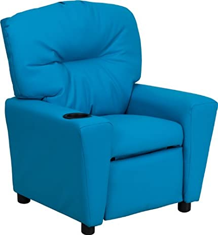 Contemporary Turquoise Vinyl Kids Recliner with Cup Holder  sc 1 st  Amazon.com & Amazon.com: Contemporary Turquoise Vinyl Kids Recliner with Cup ... islam-shia.org