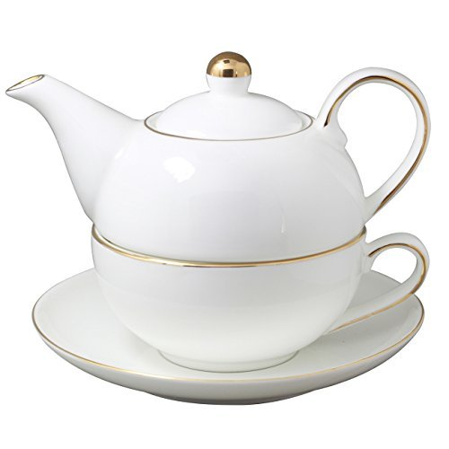 Jomop Teapot Cup and Saucer Set Tea for One (White)