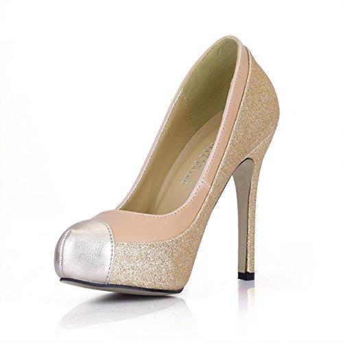 Sandy CM Premium 11CM Punta tonda Piattaforma alti Best Scarpe autunno Scarpe 4U® Stiletto Tacchi 1 donna da PU Primavera xwq7IY8q