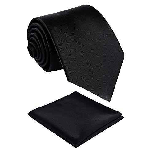 (Fortunatever Classical Men's Handmade Extra Long Necktie,Black Tie With Pocket Square+Gift Box)