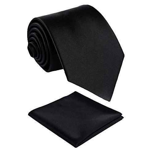 Pocket Square Handmade Tie - Fortunatever Classical Men's Handmade Extra Long Necktie,Black Tie With Pocket Square+Gift Box