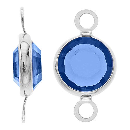 (Swarovski Crystal, Rhodium Plated Channel Connector Link, 7mm, 4 Pieces, Sapphire)