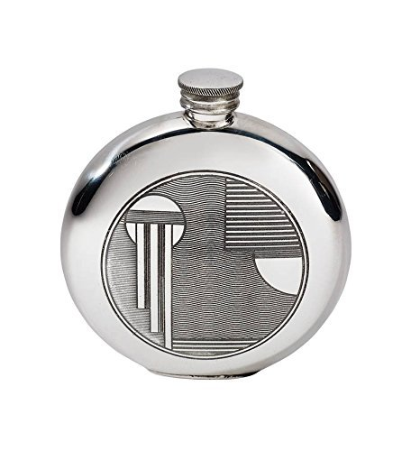 - Wentworth Pewter - Art Deco Round Pewter Flask - H:115mm W:95mm D:25mm
