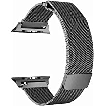 OROBAY Compatible with Apple Watch Band 42mm 44mm, Stainless Steel Milanese Loop with Magnetic Closure Replacement Band Compatible with Apple Watch Series 4 Series 3 Series 2 Series 1, Space Gray