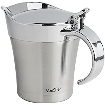 VonShef - Stainless Steel Double Insulated Gravy Boat/Sauce Jug - with Hinged Lid & 17-Ounce Capacity
