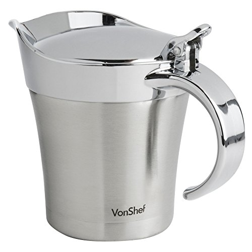 VonShef - Stainless Steel Double Insulated Gravy Boat/Sauce Jug - with Hinged Lid & 17-Ounce Capacity (Sauce Body Boat)