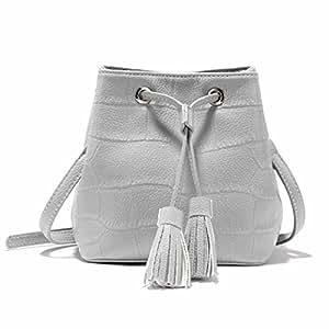 Bolso De Hombro De Mujer Casual Bolso De Cubo De Moda Con Flecos,Gray