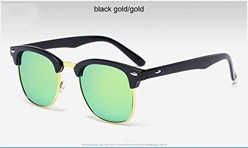Oro clásico medio Oro sol Oro Negro metal espejo gafas hombre 3016 de Negro calidad sol de ZHANGYUSEN Remache Oro alta Moda de de 3016 de de Gafas wtI4xp1q