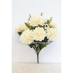 Sweet Home Deco 18'' Supper Soft Silk Dahlia Artificial Flower Bouquet for Spring Summer Home/Wedding 10 Big Flower Heads 66