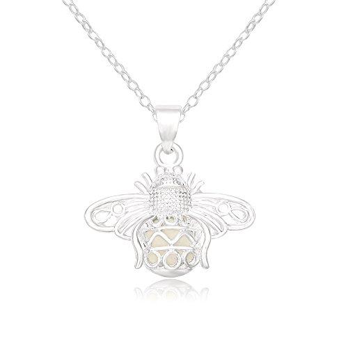 SENFAI Creative Designed Lovely Luminous Firefly Pendant Necklace for Women Girls (Cyan)]()