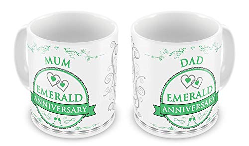 - FiuFgyt Personalised Pair of 55th Emerald Anniversary Mum + Dad Swirls Rosette Design Funny Coffee Mug for Women Office Mug Gifts 11oz Christmas Cup