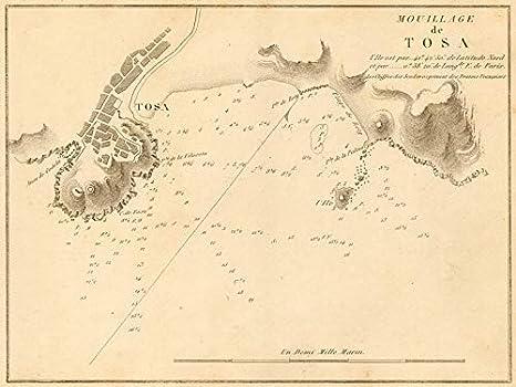 Tossa de Mar. Mouillage de TOSA. España. Girona GAUTTIER 1851 - Mapa Antiguo Vintage - Mapas Impresos de España: Amazon.es: Hogar