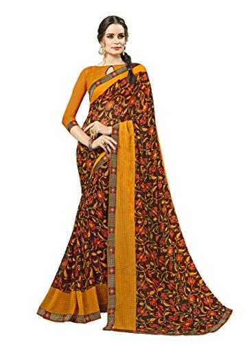 (Indian Bollywood Designer Ethnic Wedding Party Wear Georgette Saree Sari S6221 Brown)