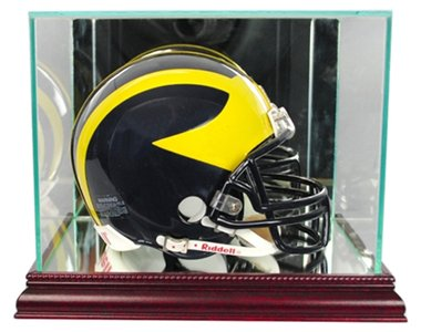 Perfect Cases NFL Mini Football Helmet Glass Display Case, Cherry
