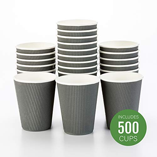500-CT Disposable Gray 12-OZ Hot Beverage Cups with Ripple Wall Design: No Need for Sleeves - Perfect for Cafes - Eco-Friendly Recyclable Paper - Insulated - Wholesale Takeout Coffee Cup -