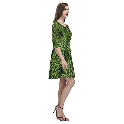 Womens Dress Sleeve Skater Half Story Leaf Green Tethys Dress D fq5WRUn