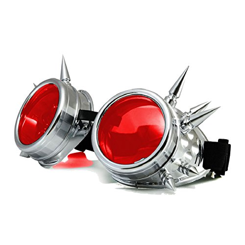 ggles, Spiked Retro Glasses Free Lens Steampunk Goggles ()