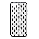 KylA Forster.iPhone 7 Plus Case.Black Ninja Cat White Shock Absorption TPU Cover Case Tempered Glass Design Back Drop Protection Phone Case for iPhone 7/8 Plus