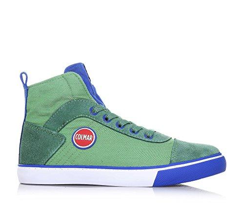 COLMAR - Sneaker à lacets verte et bleue, en tissu et suède, avec fermeture éclair latérale, logo sur la languette, garçon, garçons