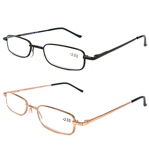 Reading Glasses 2 Pair Black and Gold Readers Metal Lightweight Compact Unisex Glasses for Reading Slim Case Included +3