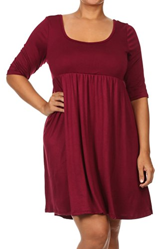 Pastel by Vivienne Women's Relaxed BabyDoll Plus Size Dress XXX-Large Burgundy