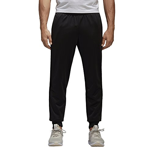 adidas Mens Athletics Essential Tricot 3 Stripe Tapered Pants, Black/Black, Medium