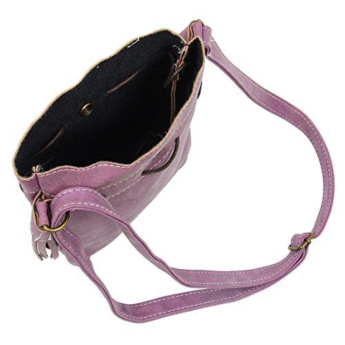 TOOGOO(R) Borsa delle donne sacchetto della benna di modo della nappa Borsa delle donne del sacchetto del messaggero del sacchetto di spalla delle donne di cerimonia nuziale della rappezzatura viola