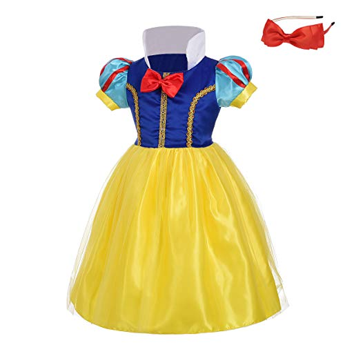 (Lito Angels Girls' Princess Snow White Costume Fancy Dresses Up Halloween Outfit with Headband Size 2)