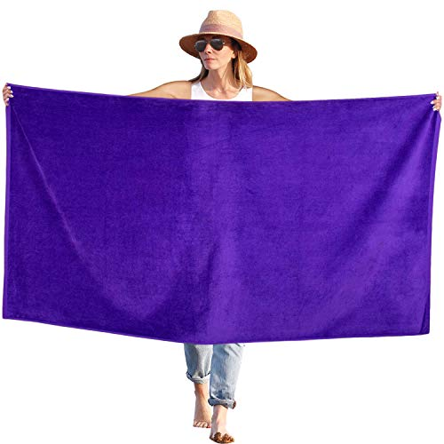 Peach B&C Beach Bath Towel Sheets Terry Velour Soft Turkish Cotton | Extra Absorbent - Quick Fast Drying - Sand Free | Perfect for Bath & Travel & Pool & Sports & Spa & Swimming (1, Solid Purple)