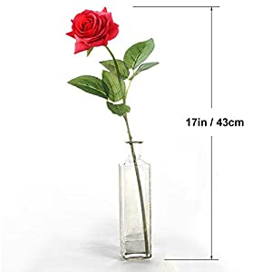Lvydec Artificial Flowers Silk Rose Flowers - 12 Pcs Red Roses Fake Flowers Real Touch Bridal Wedding Bouquet for Home Wedding Decoration Garden Party Floral Decor 4