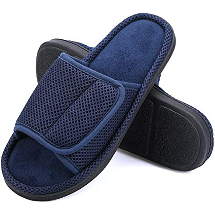 mysoft Mens Summer Slippers Indoor Outdoor Adjustable Slide Open Toe Slippers with Memory Foam, Breathable and Comfortable