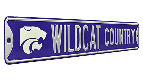NCAA Wildcat Country K-State Logo Street Sign, Team Color, 36